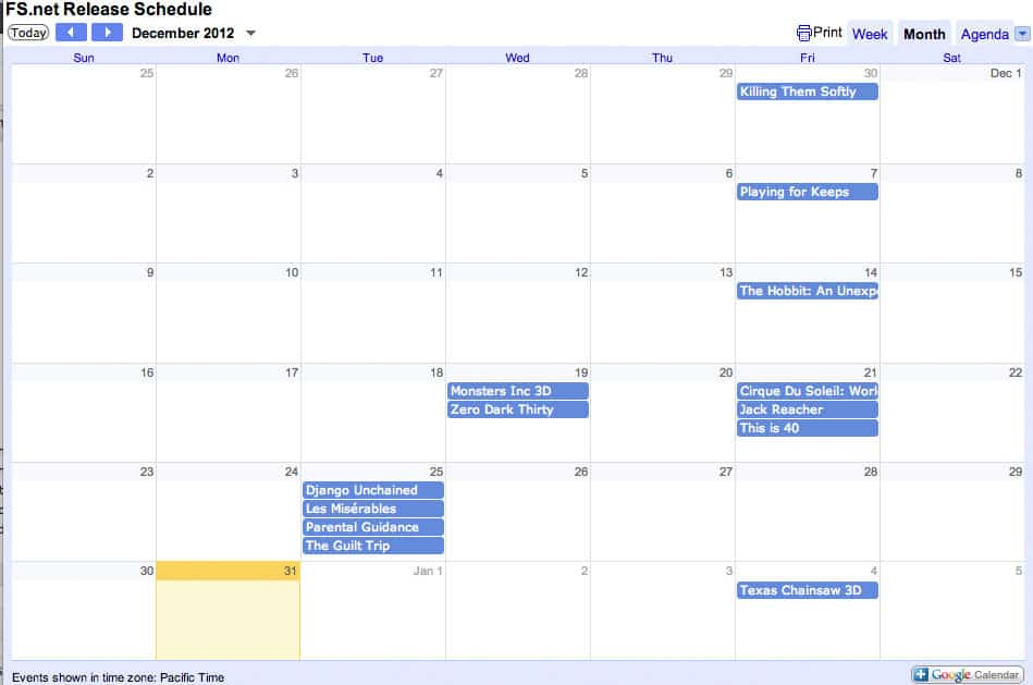 Google Calendar of Movies Coming Out in 2013